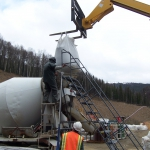 Pogo Mine - Batching 140 yrds of cellular concrete for filling void and lifting slab.