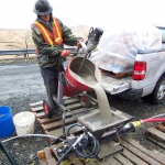 Adak - Grouting equipment and materials had to be flown in and mixed  at site.
