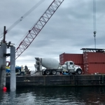 Hoonah-Mixer truck, pump, and super bags of concrete materials were loaded in Seattle and stayed on barge for project.